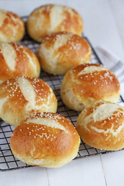Crusty Pretzel Bread Bowls are perfect for your favorite soup.
