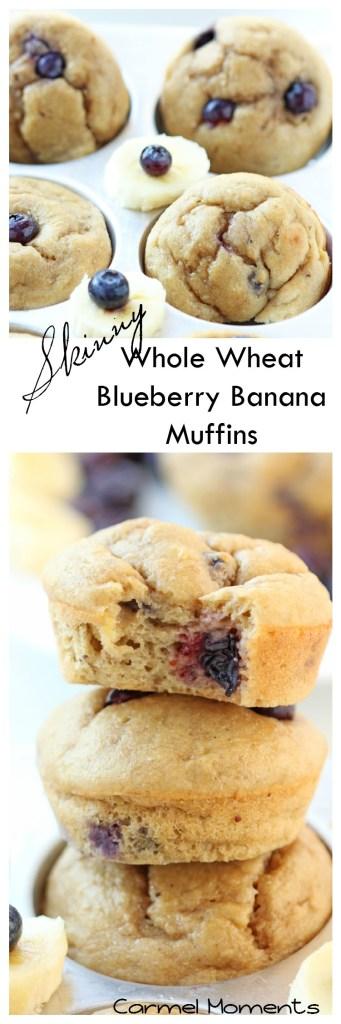 Skinny Whole Wheat Blueberry Banana Muffins | gatherforbread.com