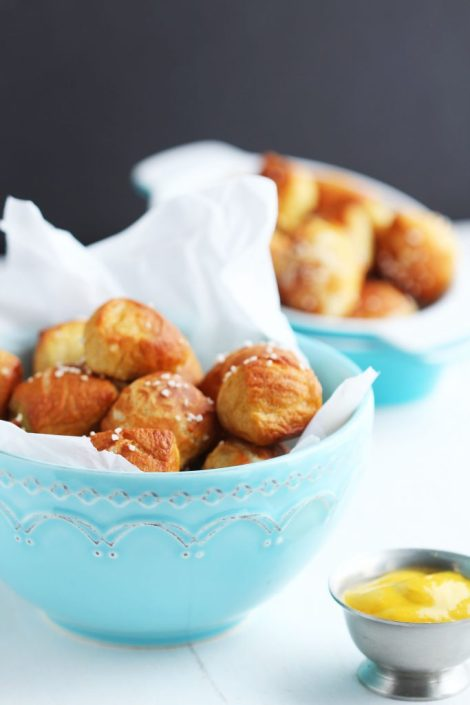 Soft Pretzel Bites - These perfect little dough balls are the perfect pop in your mouth size. Perfect for a party platter. Just right for little hands.