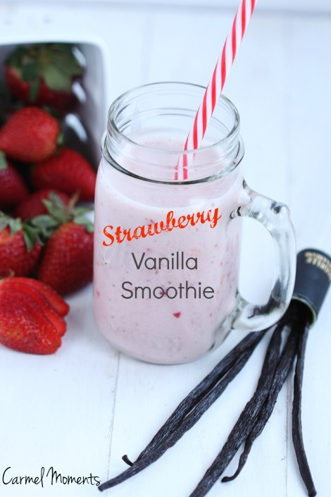 Strawberry Vanilla Smoothie - Creamy blend of yogurt, milk, frozen strawberries and a dash of vanilla. Delicious recipe for breakfast or snack. 5 ingredients. 5 minutes.