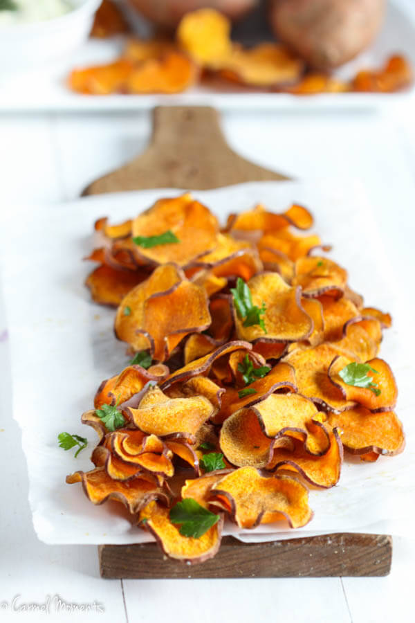Baked Sweet Potato Chips Crisp, delicious, salty baked sweet potato chips make the perfect healthy snack. Just 4 simple ingredients. Combine with this fresh dip. Paleo, Whole 30 approved.