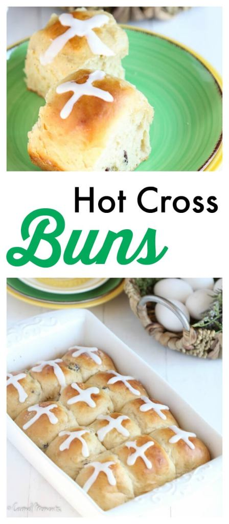 Easy Hot Cross Buns - An Easter tradition. Buns bake up soft and fluffy. Delicious with hints of cinnamon and nutmeg. Perfect for Easter brunch or dinner.