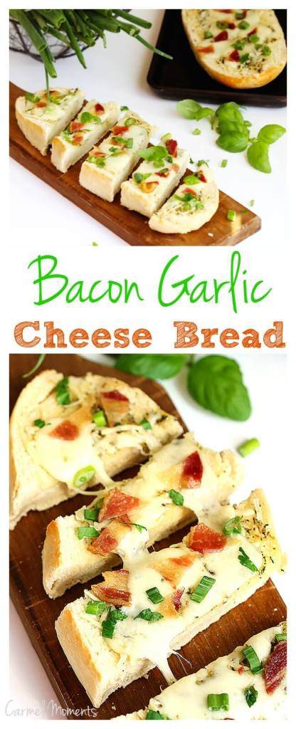 Bacon Garlic Cheese Bread -  Take any loaf of bread and top with these delicious seasonings, bacon and cheese. Perfect party pleaser!