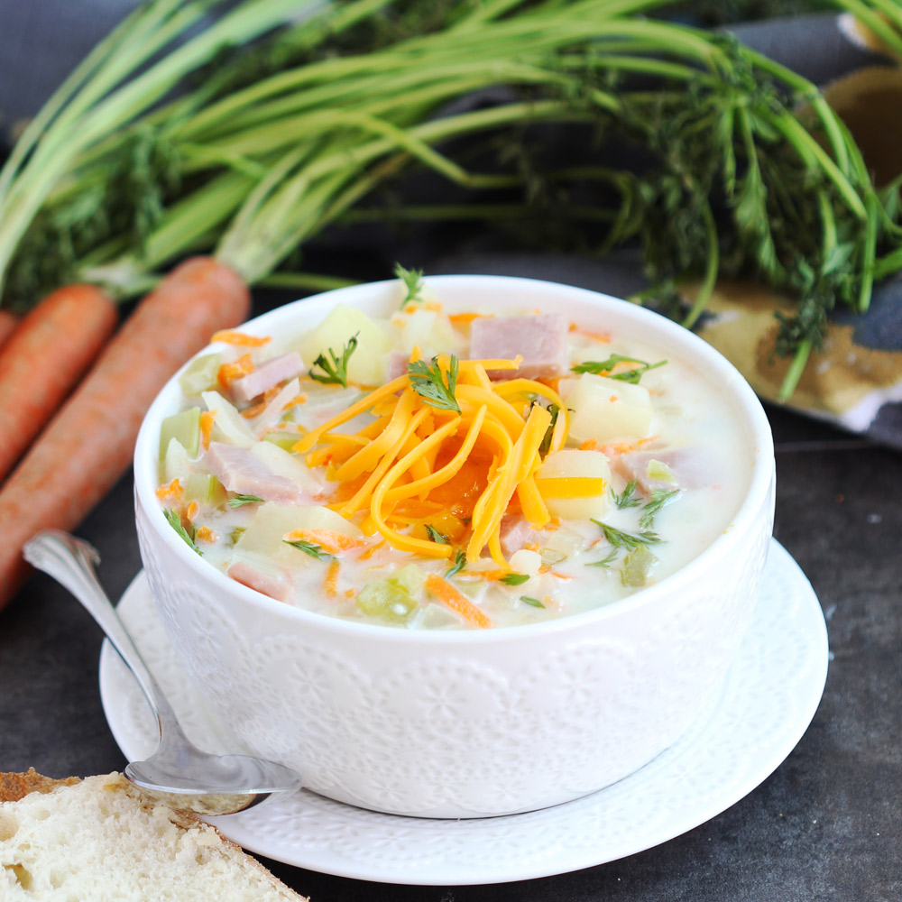 Cheesy Ham and Vegetable Chowder - Delicious creamy soup with ham and a variety of veggies. Family loved this rich soup. Perfect for that leftover ham!