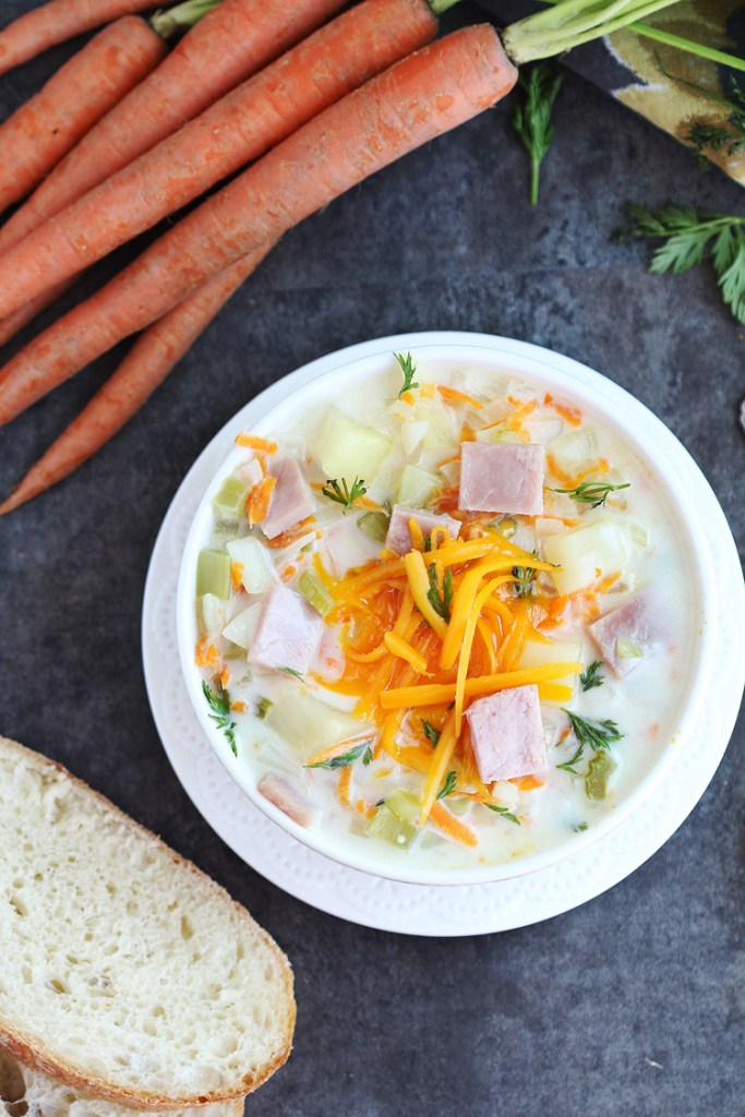 Cheesy Ham and Vegetable Chowder - Cheesy Ham and Vegetable Chowder - Delicious creamy soup with ham and a variety of veggies. Family loved this rich soup. Perfect for that leftover ham!