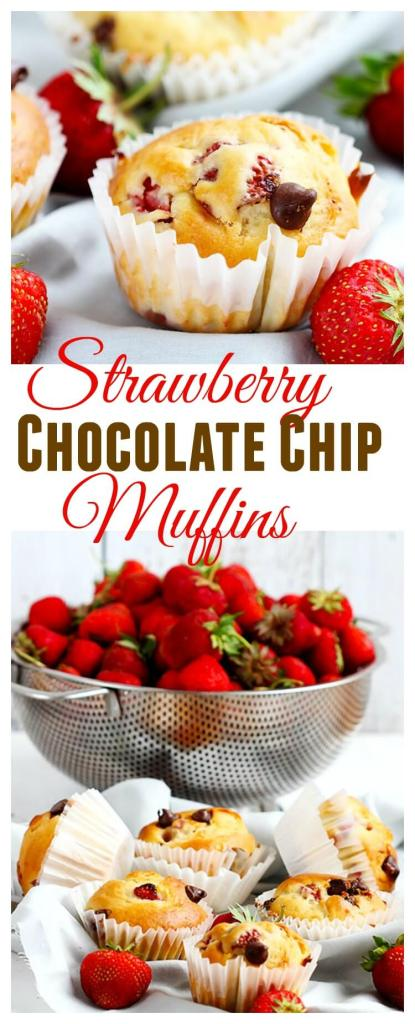 Strawberry Chocolate Chip Muffins - Fluffy, soft chocolate chip muffins studded with fresh strawberries. Perfect in season as breakfast or dessert. Made with Greek yogurt the whole family is sure to love these!