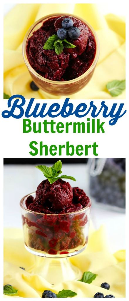 Blueberry Buttermilk Sherbert - Delicious creamy sherbert made with fresh blueberries, buttermilk a hint of vanilla and topped with fresh mint for garnish. Perfect summer dessert to cool down.