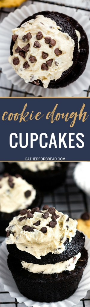 Cookie Dough Chocolate Cupcakes - Homemade recipe for chocolate cupcakes stuffed with chocolate chip cookie dough frosting. Ultimate cupcake lover's favorite.