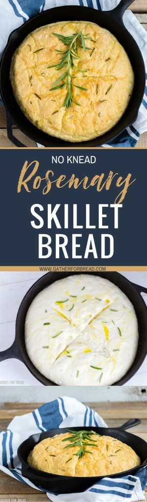 Rosemary No Knead Skillet Bread - Delicious and easy, this loaf bakes up quickly. Fresh, simple - olive oil, rosemary, and seasoning for the perfect rise yeast bread in a skillet.