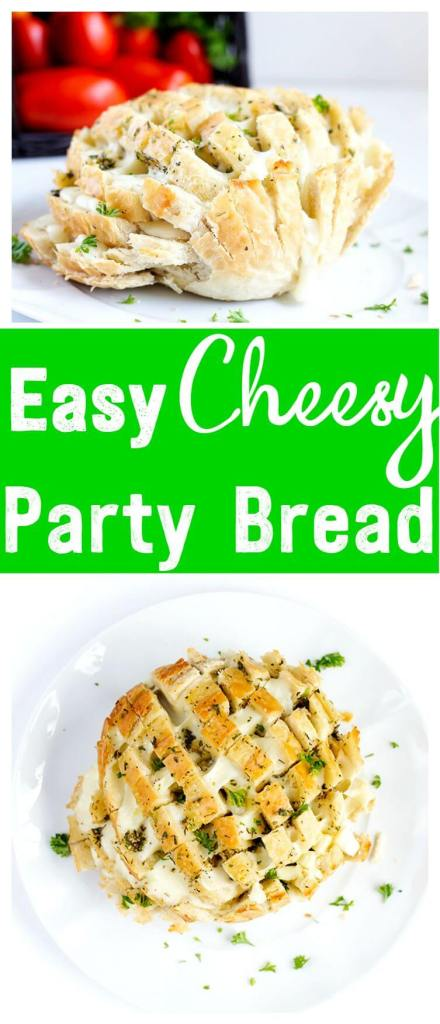 Easy Cheesy Party Bread - Garlic, buttery, pull apart mozzarella, this cheesy bread is the perfect easy appetizer for parties, game time and summer picnics. Simple fun and tasty!