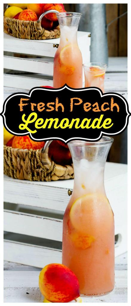 Fresh Peach Lemonade // gatherforbread.com Refreshing summer favorite, made simple with fresh juicy peaches and lemons for a delicious thirst quencher.