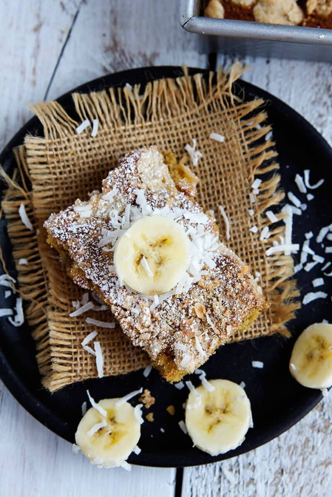 Simple Banana Coconut Crumb Cake // @gatherforbread