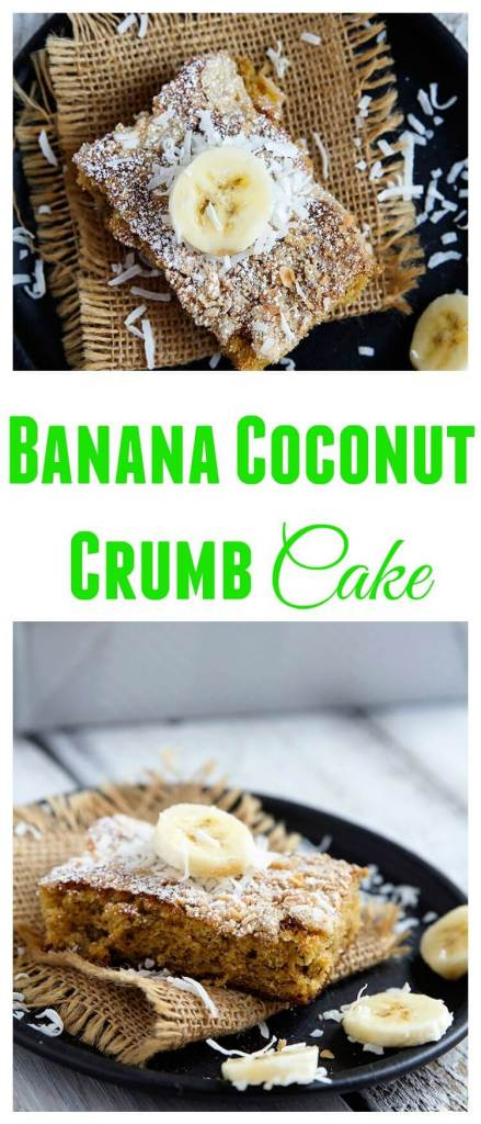 Banana Coconut Crumb Cake // @gatherforbread