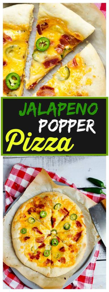 Jalapeno Popper Pizza - Fresh pizza dough topped with cream cheese, mozzarella, colby jack cheeses, fresh jalapenos and crispy bacon. // @gatherforbread