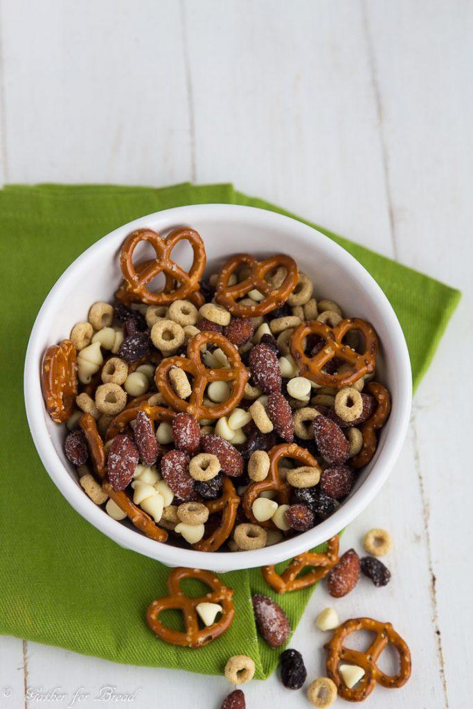 Sweet Honey Almond Snack Mix | gatherforbread.com