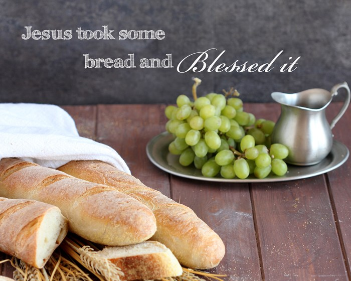 Jesus took some bread and blessed it