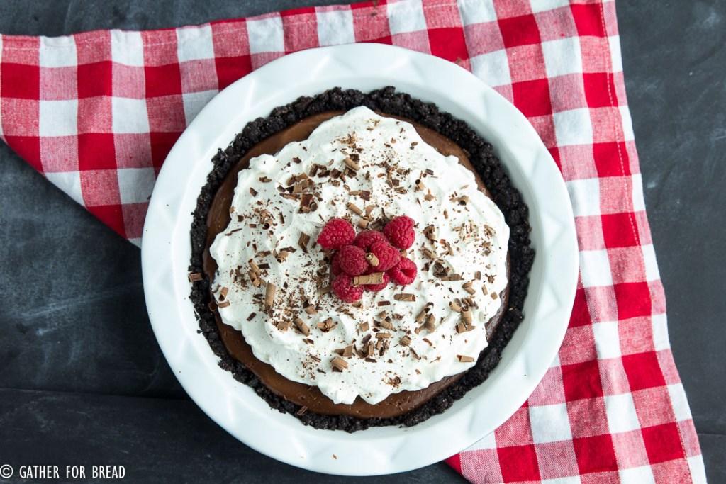 Homemade Chocolate Pudding Pie   gatherforbread.com