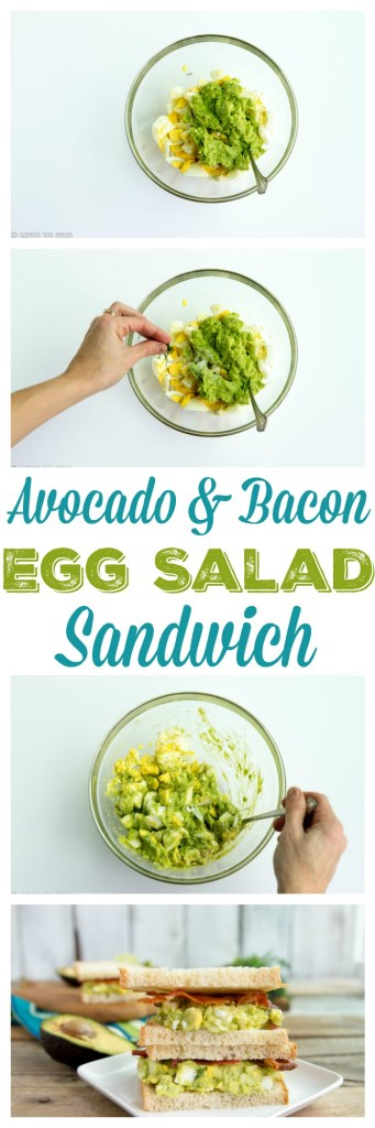 Avocado Bacon Egg Salad Sandwich - Perfect for lunch. Great way to use those leftover eggs!