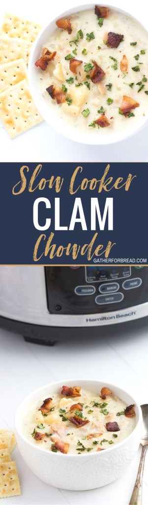 Slow Cooker Clam Chowder - New England clam chowder crockpot recipe. Seafood fans will love this easy creamy homemade soup. Top with bacon for a perfect meal. Comfort food for those chilly days. Serve with bread and salad for a full meal.