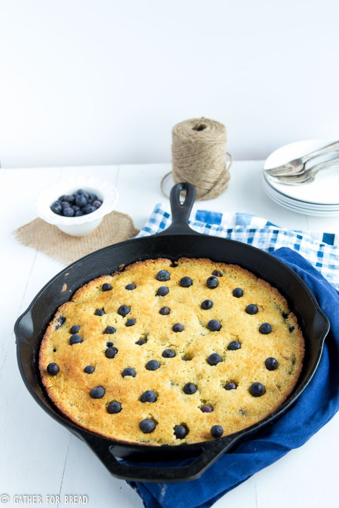 Blueberry Cornmeal Skillet Cake | gatherforbread.com