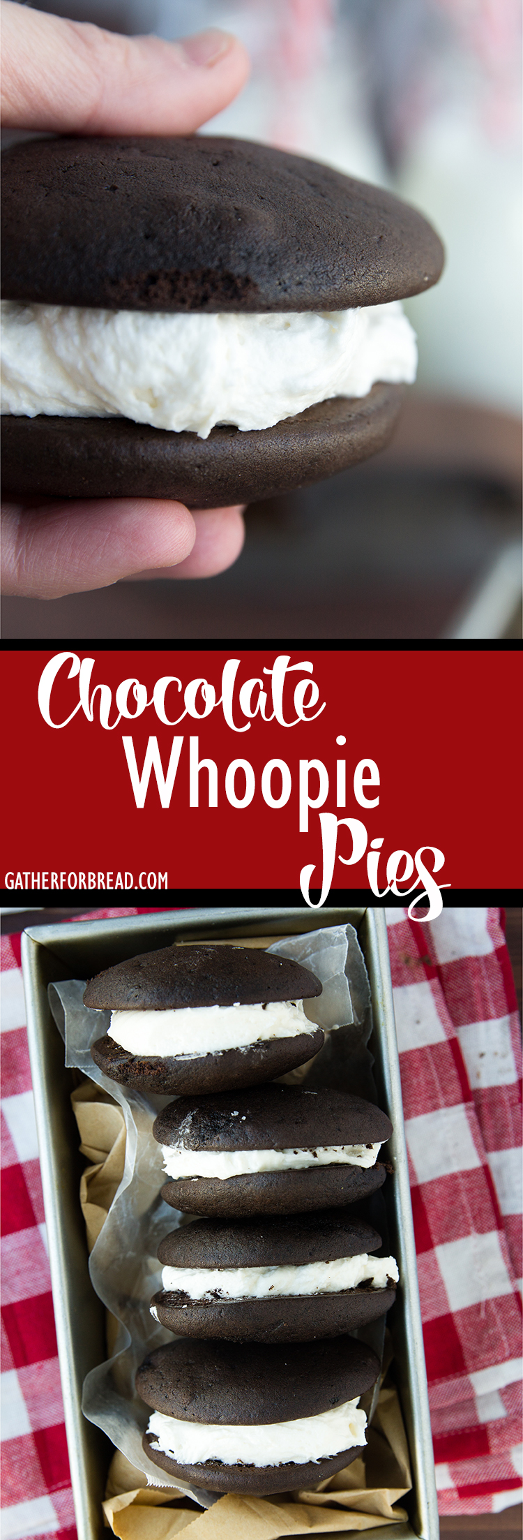 Chocolate Whoopie Pies - Moist chocolate whoopie pies made REAL butter, NO vegetable shortening. These are INCREDIBLE!!!