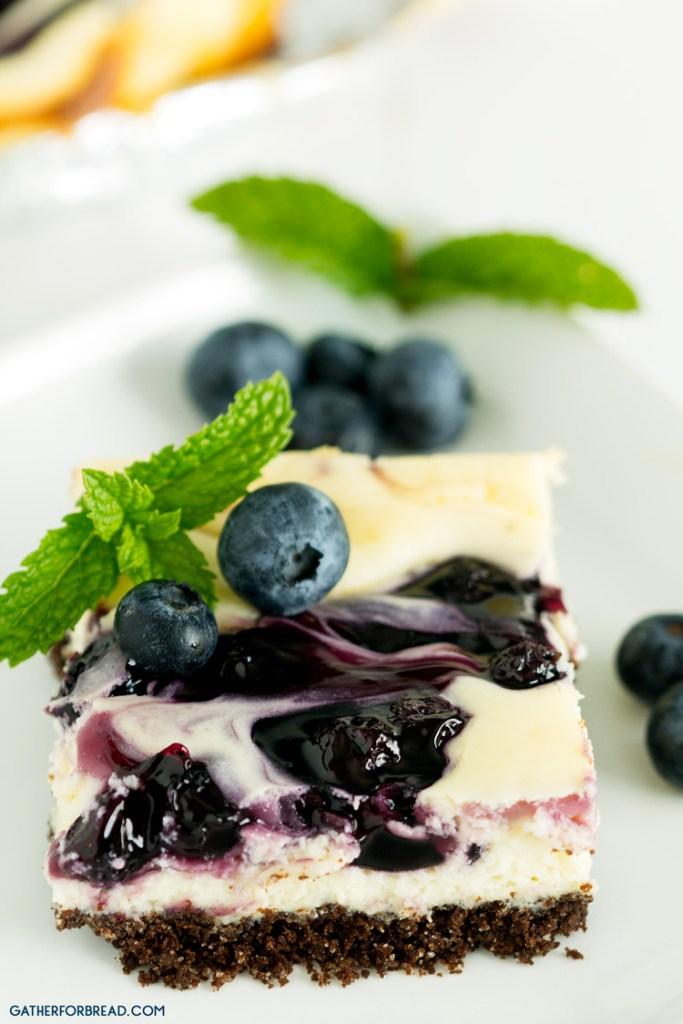 Blueberry Swirl Chocolate Cheesecake Bars