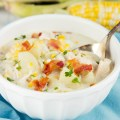 Chicken Corn Chowder - Creamy corn chowder loaded with bacon, sweet fresh corn, rotisserie chicken, loaded with flavor, this is sure to be a hit with your crowd especially in the summer.