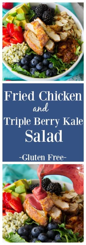Fried Chicken Triple Berry Kale Salad