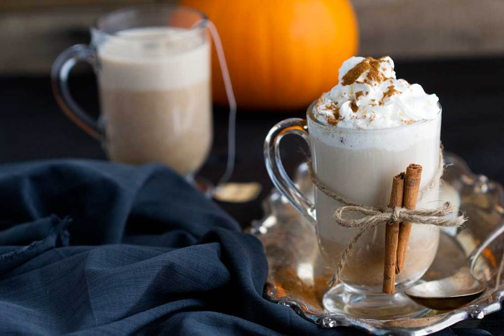 Pumpkin Chai Latte - Seasonal favorite. Homemade chai latte made with real pumpkin, chai concentrate, and some cinnamon, allspice and vanilla for a pure cozy fall treat.