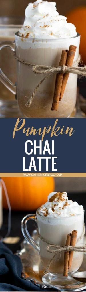 Pumpkin Chai Latte - Seasonal favorite. Homemade chai latte made with real pumpkin, chai concentrate, and some cinnamon, spice and vanilla for a pure cozy diy fall treat.