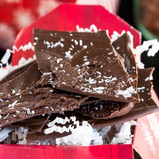 Chocolate Coconut Bark - Delicious thin chocolate candy bark topped with shredded coconut. Simple treat made in minutes makes a perfect gift to give.