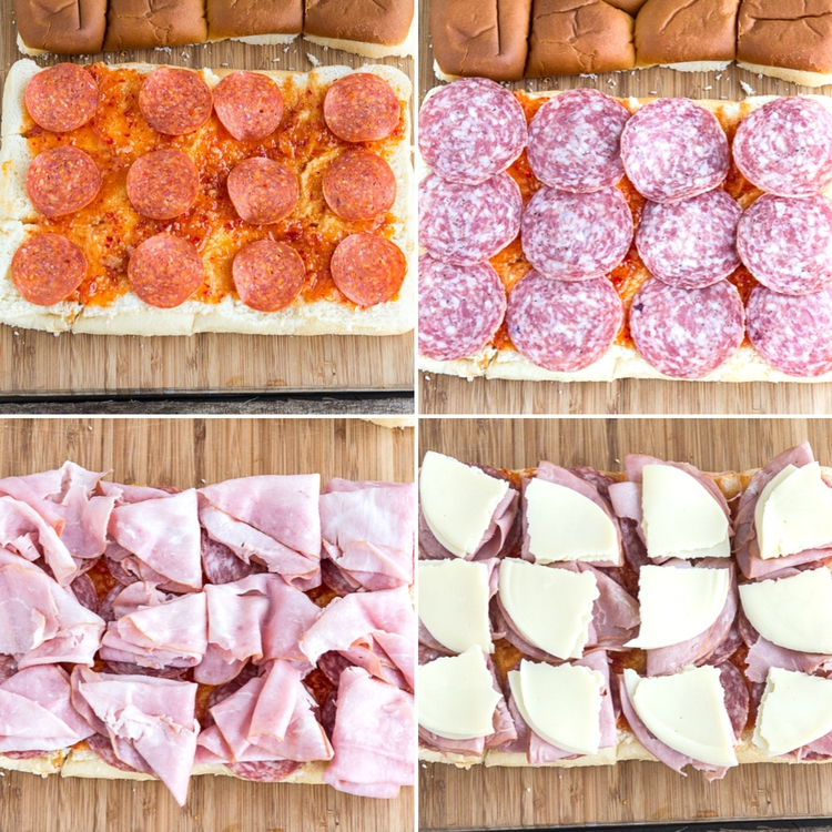 Italian Slider Sandwiches - Sliders stuffed with Italian meats, ham, salami, pepperoni, cheese, baked to perfection. Great appetizer for parties, gatherings