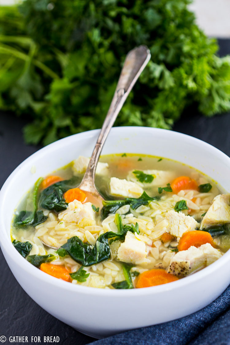 Homemade Chicken Orzo Soup Gather For Bread