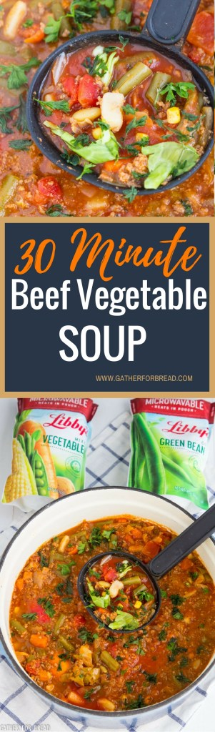30 Minute Beef Vegetable Soup - Easy soup with delicious homemade soup on the table in just 30 minutes. Perfect for dinner or lunch with a simple salad and homemade bread. #vegetable #vegetablesoup #soup #easy #dinnerideas #healthy