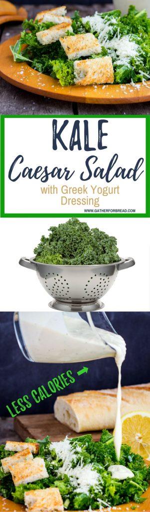 Kale Caesar Salad Greek Yogurt Dressing - Kale Salad recipe made with a creamy Greek Yogurt Caesar Dressings. Healthier, lighter, fewer calories, lots of flavor. Homemade croutons, perfect salad all year round.