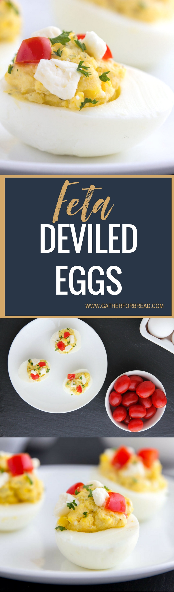 Feta Deviled Eggs - Healthier deviled eggs made with Greek yogurt, Feta cheese and dill for a savory appetizer that's ready in minutes. These Greek style eggs with herbs are delicious!