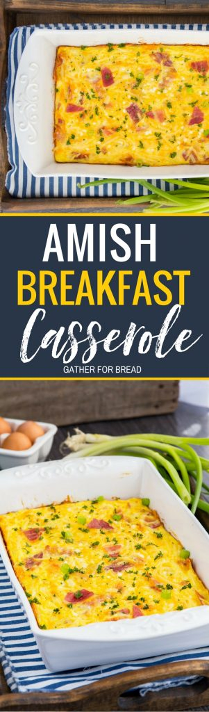 Cheesy Amish Breakfast Casserole - Breakfast bake recipe with bacon, hash browns, cheese, cottage cheese. Comfort food perfect for weekend breakfast or brunch. Taste of Home