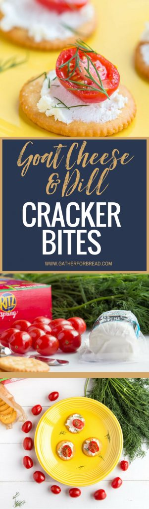 Goat Cheese Dill Cracker Bites - Easy appetizer recipe made in minutes with fresh dill and goat cheese. Simple fresh snack for anytime! @Ritzcrackers #FreshRITZpiration