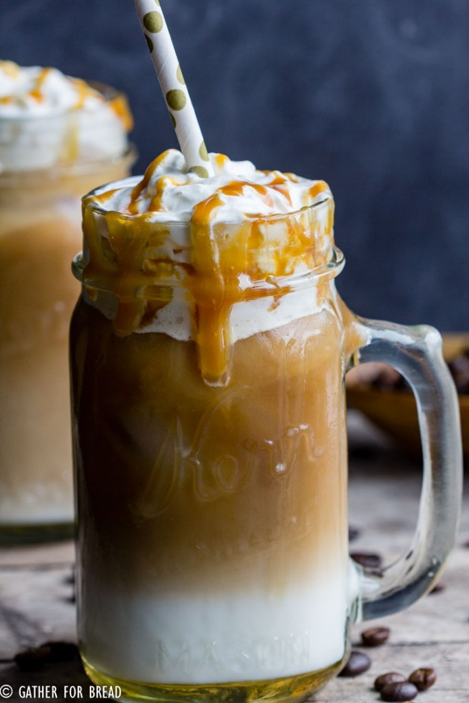 Iced Caramel Macchiato - Layered espresso drink, vanilla syrup, cold creamy milk, espresso and caramel for a delicious at home Starbucks favorite. DIY coffee drink recipe is easy, delicious and frugal!