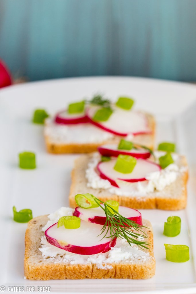 Radish Goat Cheese Sandwich Bites - Simple sandwich bites with fresh goat cheese, radish slices and dill for fresh spring appetizer. Perfect for Mother's Day brunch, tea parties, and any spring gathering.