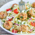 Angel Hair Pasta with Chicken Meatballs - Easy family recipe in 20 minutes. Pasta and chicken meatballs with feta cheese, tomatoes, Italian dressing, simple quick meal.