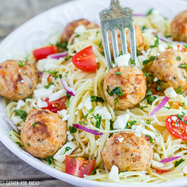 Angel Hair Pasta With Chicken Meatballs Gather For Bread