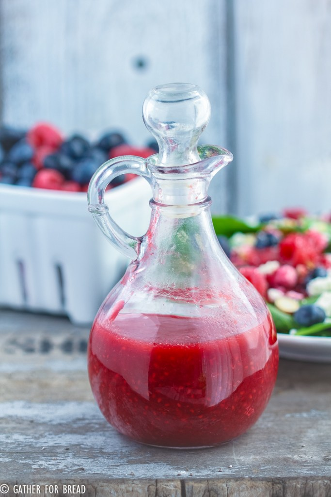 Raspberry Vinaigrette Salad Dressing - Easy seasonal fresh berry dressing recipe is made with real wholesome, healthy ingredients. It's clean and refined sugar free. Perfect for topping your favorite salad greens or spinach.