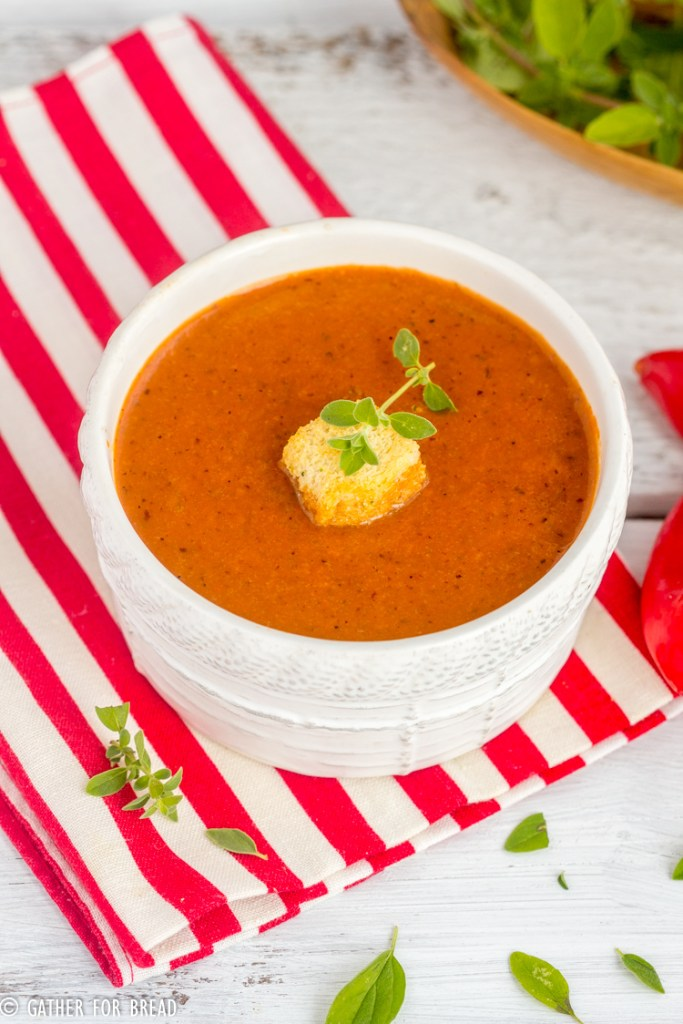 Roasted Red Pepper Soup - Recipe for homemade roasted red pepper soup, how to make this creamy recipe with garden fresh peppers.