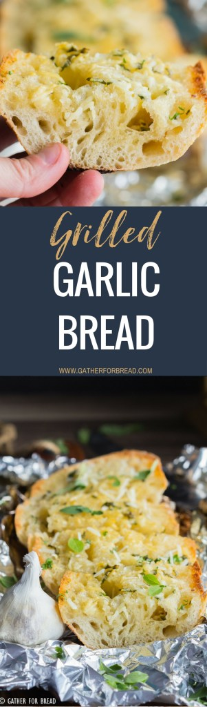 Grilled Garlic Bread - How to grill garlic bread. Grilling Italian loaf bread with butter, olive oil and herbs for a delicious summer side or appetizer.