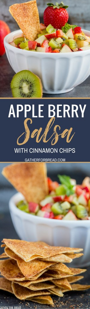 Apple Berry Salsa - Homemade fruit salsa made with strawberry, apple and kiwi paired with fresh warm cinnamon chips for a delicious appetizer or snack.