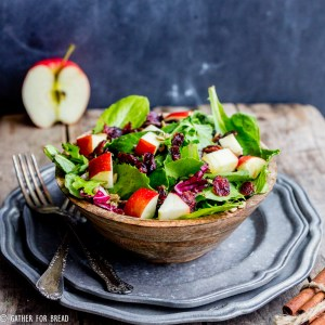 Harvest Apple Feta Salad - Delicious fall salad, greens with chopped apple, Feta cheese, cranberries and a sweet Maple cinnamon vinaigrette recipe made with apple cider vinegar.