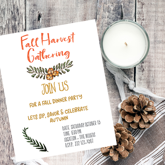 Fall Harvest Invite - Free Printable for Fall Harvest Party Gathering - Print and use for yourself