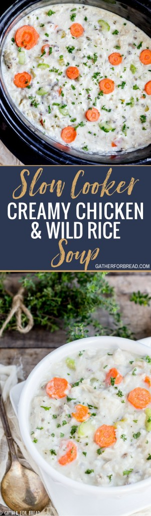 Slow Cooker Creamy Chicken Wild Rice Soup - Crockpot chicken wild rice soup, creamy chowder style soup. Homemade with boneless chicken and rice. Perfect comfort food for a chilly night. Serve with your favorite bread for a full meal! #chowder #soup #comfortfood #dinner #slowcooker #rice