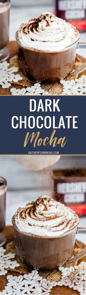 Dark Chocolate Mocha -Dark chocolate mocha with an easy recipe. Hot creamy mocha, this tutorial shows you how to get great flavor and a DIY drink from your own coffee machine. Cozy up, sip and enjoy!